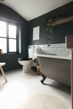 Walls And Roll Top Bath Painted In F&b Downpipe - Decorating A Small Bathroom With Dark Colours To Give A Cosy Vibe