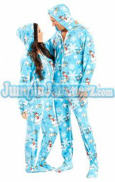 Blue Snowman Adult Hooded Pajamas Adult Pajamas de9849d27