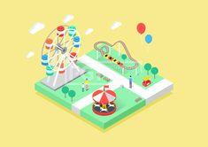 ILL196, 프리진, 일러스트, 아이소메트릭, 공간, 그림자, 고요한, 조용한, 캐릭터, 여름, 풍경, 자연, 그래픽, 입체, 오브젝트, 소스, 디자인소스, 디자인, 섬, 면, 육면체, 3D, 도형, 여행, 바캉스, 휴가, 관광, 물, 구름, 하늘, 땅, 정적인, 배경, 놀이공원, 놀이동산, 테마파크, 공원, 놀이기구, 관람열차, 관람차, 롤러코스터, 청룡열차, 풍선, 전신, 서있는, 3인, 아이, 소년, 어린이, 엄마, 가판대, 회전목마, 나무, 식물, 의자, 깃발, 신발, 옷, 의류, 어머니, 보호자, 길, 벤치, 동양인, 반팔, 말, 목마, 기구, 쓰레기통, 남자, 여자, 철도, 단면,#유토이미지