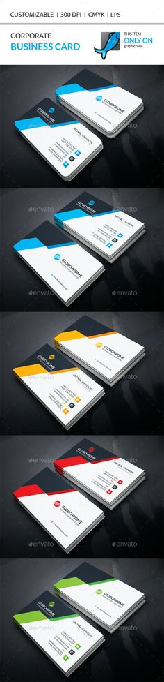 Corporate Business Card Template Vector EPS, AI Illustrator. Download here: http://graphicriver.net/item/corporate-business-card/15936248?ref=ksioks