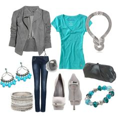 Grey and Turquoise..two fave colors. Cute little date night ensemble