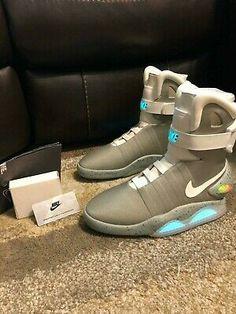Nike Mag - Latest Nike Mag for Sales #nike #nikemag Nike Mag, Jordan Future, High Top Sneakers, Sneakers Nike, Nike Models, Back To The Future, Nike Lebron, Waterproof Boots, Blue Grey