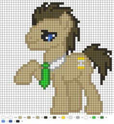 MLP Dr Whooves perler bead pattern - Crochet / knit / stitch charts and graphs