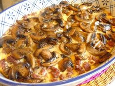 HAMBURGER MUSHROOM BAKE Simple recipe for an easy supper.  Although, simple, it was a satiating meal.  This is loosely based on Mushroom Mozzarella bake recipe...you are welcome to add some Mozzarella