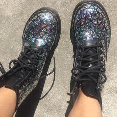 ✨ Space Walker Boots ✨ Holo docs I made using holographic tape Grunge Fashion, Diy Fashion, Punk Fashion, Holographic Fashion, Walker Boots, Space Grunge, Glitter Boots, Unique Shoes, Fashion Shoes