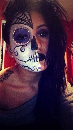 Makeup prepping for Escape 2014 Office Halloween Costumes, Halloween Eye Makeup, Halloween Inspo, Maquillage Halloween, Halloween Skull, Halloween Make Up, Sugar Skull Costume, Sugar Skull Makeup, Haunted House Makeup