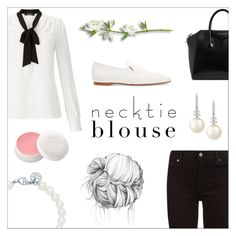 """Necktie blouse"" by lostandfound92 ❤ liked on Polyvore featuring Lipsy, The Row, 7 For All Mankind, Givenchy, Tiffany & Co., Belpearl and Christian Dior"