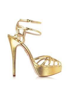 Charlotte Olympia Ursula Gold Metallic Platform Sandal