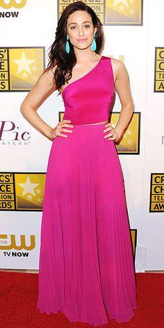 Critics' Choice Television Awards 2014: Emmy Rossum in a fuchsia Monique Lhuillier gown