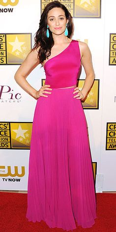 Critics' Choice Television Awards 2014: Emmy Rossum in a fuchsia Monique Lhuillier gown