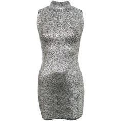 Pilot High Neck Metallic Detail Sleeveless Bodycon Dress ($21) ❤ liked on Polyvore featuring dresses, silver, pattern dress, print dress, print cocktail dress, sleeveless dress and silver dress
