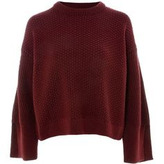 TopShop Petite Moss Stitch Sweater ($65) ❤ liked on Polyvore featuring tops, sweaters, burgandy, stitch top, acrylic sweater, petite tops, topshop sweater and boxy top