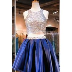 Navy Blue Two Piece Beading Short Prom Gown Sweet 16 Dress Bling Homecoming Dress, This dress could be custom made, there are no extra cost to do custom size and color Navy Blue Homecoming Dress, 2 Piece Homecoming Dresses, Grad Dresses Short, Junior Bridesmaid Dresses, Short Prom, Satin Cocktail Dress, Cocktail Dresses, Sweet 16 Dresses, Elegant Dresses