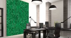 Techies, App builders, Software engineers, Computer lovers: go overboard with our circuit board wall mural. A modern solution to change the look of your room in minutes.