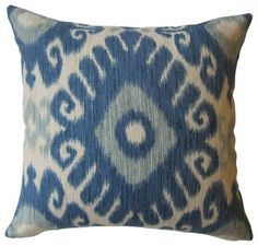 "Shades of Blue and Ivory Ikat Pillow.  Perfect to toss on your bed or sofa.Pillow is 18"" x 18""All of our pillows are handcrafted in our studio with the"