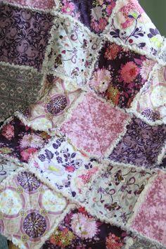 Crib Rag Quilt Baby Girl Crib Bedding Purple Pink Grey Nursery