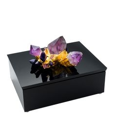 Designer 24kt Gold Mounted Amethyst Jewelry Box. (one of over 3,000 limited production designer inspirations inc)