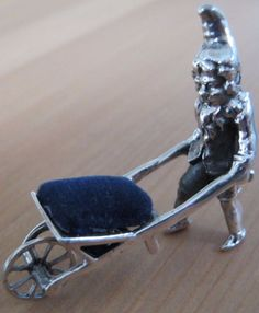 Unusual Berthold Muller Style Gnome & Wheelbarrow HM Sterling Silver Pin Cushion