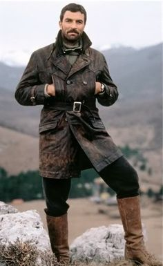 Tom Selleck in High Road to China (1983) Rugged and Cool. Love the boots. And the coat.