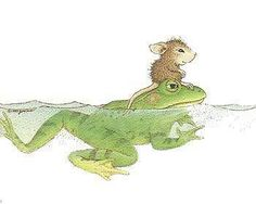 Oh that's nice of the frog to give that tiny mouse a ride !