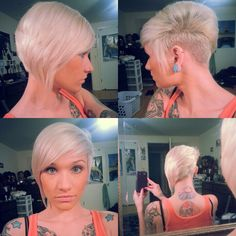 asymmetrical blonde short hairstyle for girls Undercut. Platinum hair. Short hair.