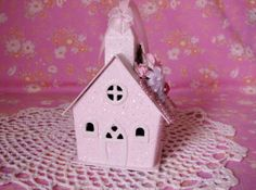 Putz style Christmas Church Ornament Hand Painted by pinkrose1611, $12.00
