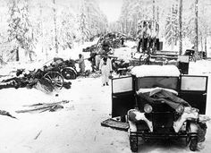 The remains of a Soviet column in the Battle of Suomussalmi, central Finland, 7 December 1939 - 8 January 1940. Much of the captured equipment was instrumental in assisting the beleaguered Finns in their defence against the Red Army.