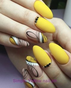 The yellow nails are cute and stylish, catching people's eyes, and as shining as the bright sunshine of the summer. The bright colors bring people a happy mood, and the yellow nails are increasingly favored by fashion people. Yellow Nails Design, Yellow Nail Art, Blue Nail, Fall Nail Designs, Acrylic Nail Designs, Matte Stiletto Nails, Black Nails, Coffin Nails, Manicure E Pedicure