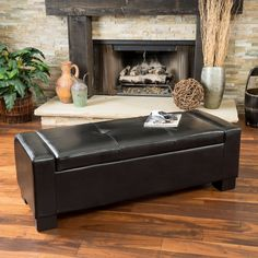 Lochlan Black Leather Storage Ottoman