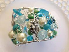 Beaded Cuff Bracelet by MermaidsDesignStudio on Etsy, $35.00