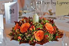 beautiful autumn wedding floral candle wreath - Google Search