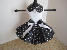 Perro vestido XS negro con blanca Polkadots por NinasCoutureCloset