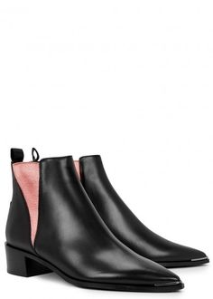 Acne Studios black leather Chelsea boots Heel measures approximately 2 inches/ 50mm Designer-stamped grosgrain heel tab, pink elasticated sides, pointed toe with silver hardware Pull on Come with a dust bag