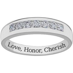 Sweet Sentiments Sterling Silver Cubic Zirconia Wedding Band ($225) ❤ liked on Polyvore featuring men's fashion, men's jewelry, men's rings, white, mens white gold wedding rings, mens cubic zirconia wedding rings, mens cubic zirconia rings, mens wedding rings and mens diamond band wedding ring