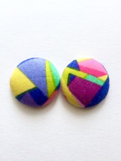 Crazy Paving Fabric Covered Button Earrings / Aztec by Rubenabird