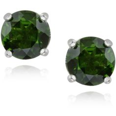 Glitzy Rocks Sterling Silver 2 3/8ct TGW Chrome Diopside Stud Earrings ($60) ❤ liked on Polyvore featuring jewelry, earrings, green, round earrings, sterling silver earrings, sterling silver stud earrings, sterling silver butterfly jewelry and sterling silver jewelry