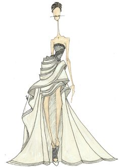 Fashion illustration - stylised fashion drawing of Versace couture gown // J. Larkowsky