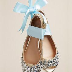 Glitter Peep-Toe Flats with Gem Embellishment - Davids Bridal