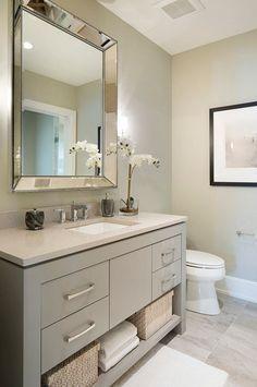 Vanity paint color is Sherwin Williams SW 7673 Pewter Cast. Guest Bathroom Remodel, Bathroom Renos, Bathroom Renovations, Bathroom Interior, Small Bathroom, Master Bathroom, Bathroom Mirrors, Bathroom Cabinets, Mirror Vanity