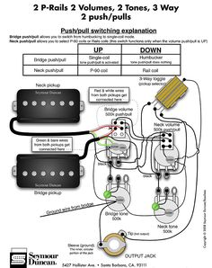 Guitar Pedalboard Wiring Diagram Human Ear And Functions Seymour Duncan P-rails - 2 P-rails, 1 Vol, 3 Way & On-off-on Mini Toggle | Tips ...