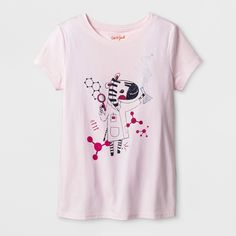 Combine her love of nature and science with this Short-Sleeve Zebra Graphic T-Shirt from Cat & Jack™. In light pink, this graphic tee features a zebra in a lab coat holding a beaker that's spouting hearts. She can wear this T-shirt with jeans or jogger pants and she'll be ready for any experiment.