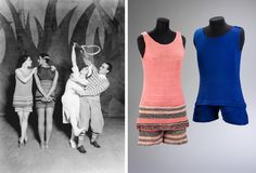 Coco Chanel costumes for Le Train Bleu, 1924. #dancefashion / Public domain and Victoria and Albert Museum images |  An amusing description of what the dancers thought of their costumes can be found here: http://themakingofmarkova.com/2013/05/01/coco-chanel-and-the-ballets-russes/