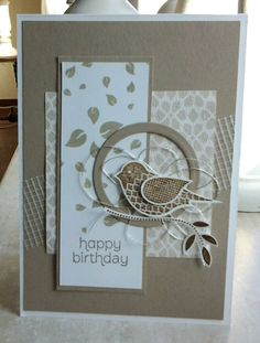 SU bird punch, use swirly for circle Hand Made Greeting Cards, Making Greeting Cards, Birthday Cards For Women, Handmade Birthday Cards, Bee Cards, Hand Stamped Cards, Embossed Cards, Stamping Up Cards, Card Making Inspiration