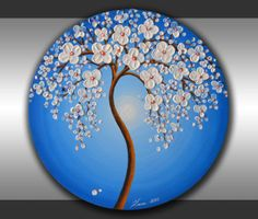 "ORIGINAL Fine Art Modern Tree Painting Blue Landscape Home Decor 20"" Round Canvas Abstract Heavy Texture White Flowers Palette Knife Artwork by ZarasShop"