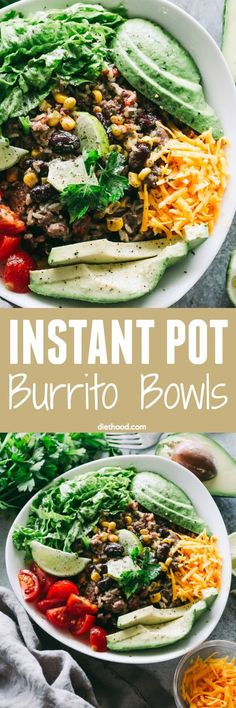 Instant Pot Burrito Bowls Recipe – Quick and easy, healthy and cheesy burrito bowls prepared in the Instant Pot! Get ready for a fantastic lightened up meal that the whole family will love.