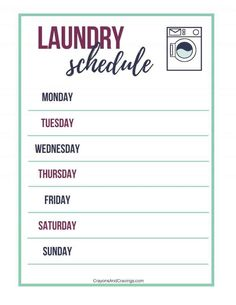 Stay on top of your laundry pile with the help of these smart laundry routine tips and free laundry schedule printable. Daily Schedule Printable, Routine Printable, Laundry Room Organization, Storage Organization, Laundry Rooms, Organizing, Apartment Cleaning, Clean Apartment, Household Binder