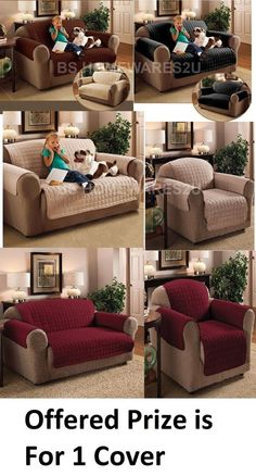 Details about  Luxury Quilted Sofa Protector Arm Chair Furniture Settee Throw Slip Cover