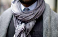 Lightweight gauze scarf - how to wear it Sharp Dressed Man, Well Dressed Men, Girl Fashion, Mens Fashion, Fashion Tips, Fashion Updates, Fashion Essentials, 50 Shades Of Grey, Gentleman Style