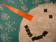 The Snowy Day, Snowmen at Night, & Snow - torn paper snow man -The Elementary Art Room!: Kindergarten - For Brittney Winter Art Projects, School Art Projects, Winter Project, Art School, Kindergarten Art, Preschool Art, Snowmen At Night, Elementary Art Rooms, Theme Noel