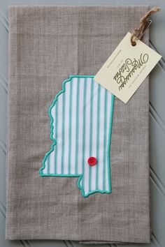 Kitchen Tea Towel - Linen Tea Towel - Embroidered Tea Towel - Mississippi Linen Tea Towel - Aqua Ticking Stripe by MSstitchesbyKatie on Etsy